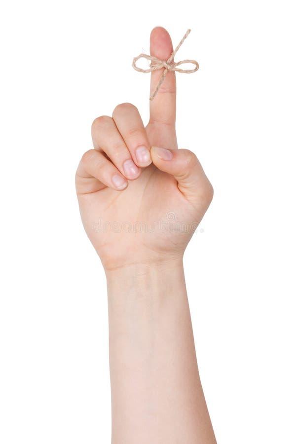 Der Zeigefinger zu einem Knotenpunkt lizenzfreies stockbild
