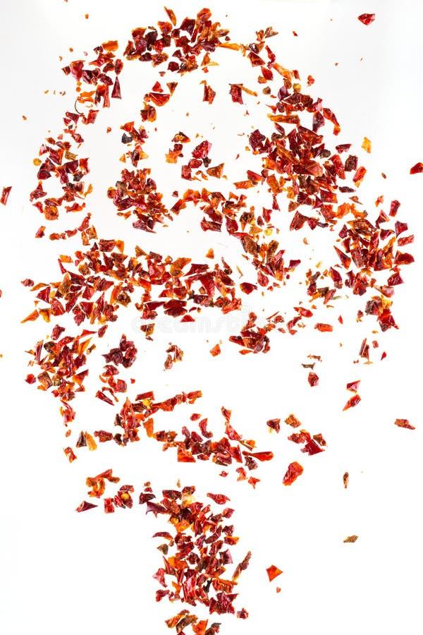 Der zerquetschte Stapel trocknete Flocken des roten Pfeffers, auf weißem Hintergrund, Draufsicht, stockbilder
