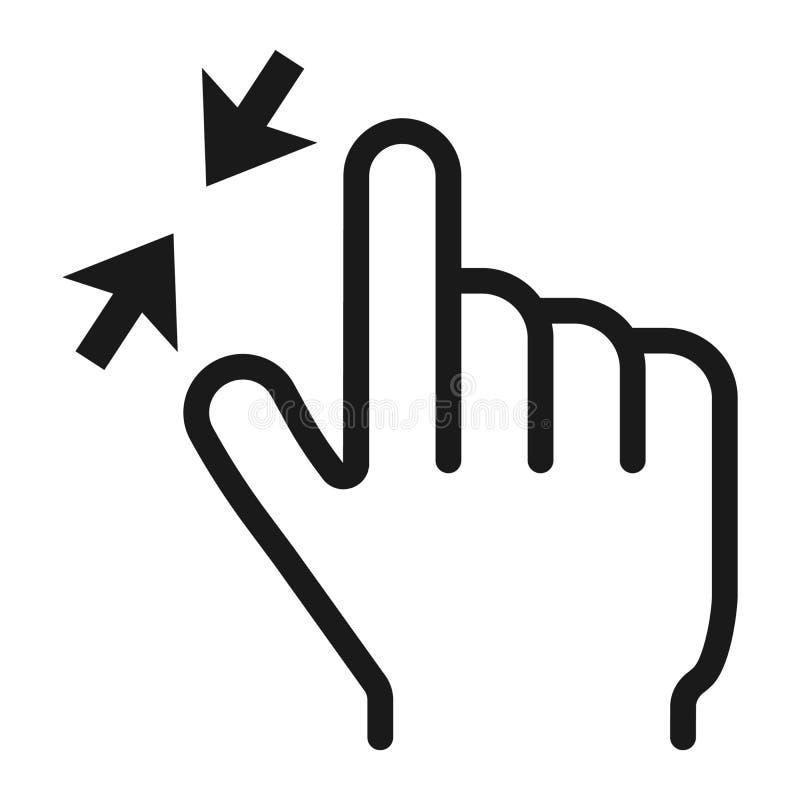 der Zoom mit 2 Fingern heraus zeichnen Ikone, berühren sich und gestikulieren lizenzfreie abbildung