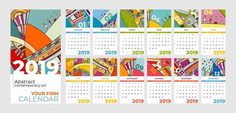 der Zusammenfassungs-zeitgenössischen Kunst mit 2019 Kalendern Satz Schreibtisch, Schirm, Tischplattenmonate 2019, bunte Schablo stock abbildung