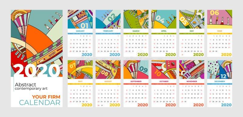 der Zusammenfassungszeitgenössischen kunst mit 2020 Kalendern Vektorsatz Schreibtisch, Schirm, Tischplattenmonate 2020, bunte Sch lizenzfreie abbildung