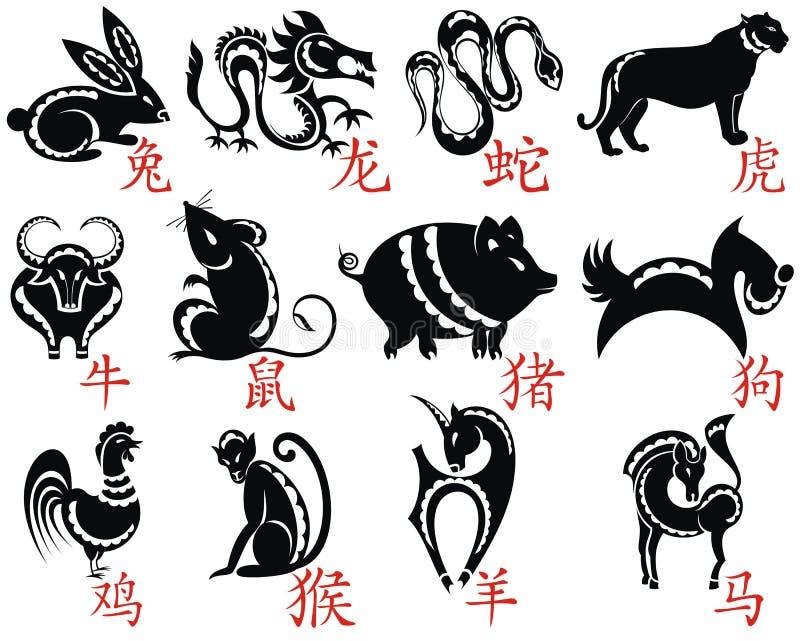 Der zwölf Chinese-Tierkreis lizenzfreie abbildung