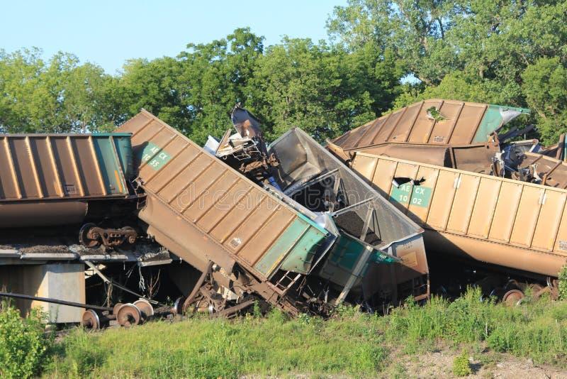 Deragliamento di treno vicino a Silverlake, Kansas immagini stock libere da diritti