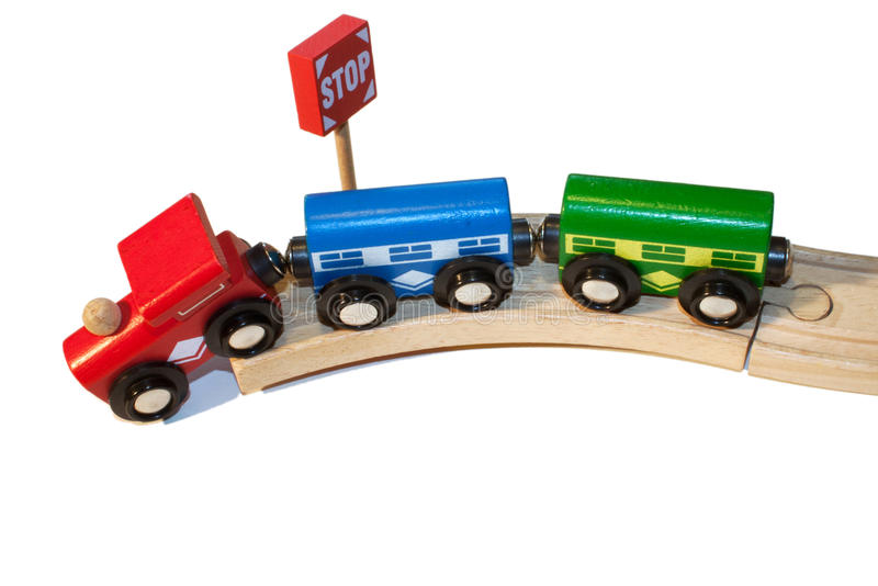 Derailment of a toy train stock image