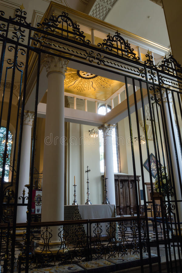 Derby Cathedral High Altar Iron rood screen vertical photography. England, Derby - 27 June 2016: Derby Cathedral High Altar Iron rood screen vertical photography royalty free stock images
