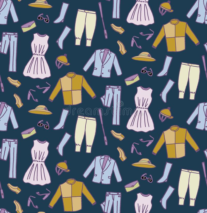 Download Derby Costume With Dark Blue Background Seamless Pattern Stock Vector - Illustration of outfit, drawn: 115773596