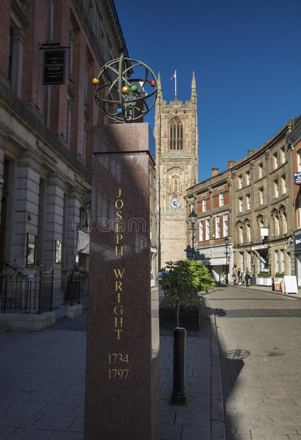 Derby, Derbyshire, het UK: Oktober 2018: Joseph Wright Memorial stock afbeelding