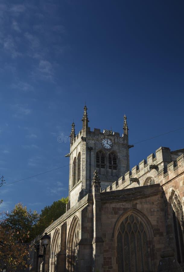 Derby, Derbyshire, het UK: Oktober 2018: St Peters Church stock afbeeldingen