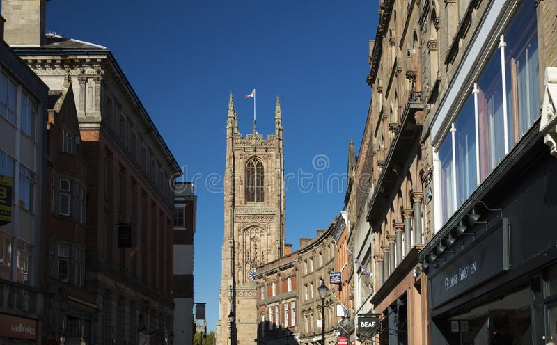 Derby, Derbyshire, Reino Unido: Outubro de 2018: Derby Cathedral de todo o Sain imagem de stock