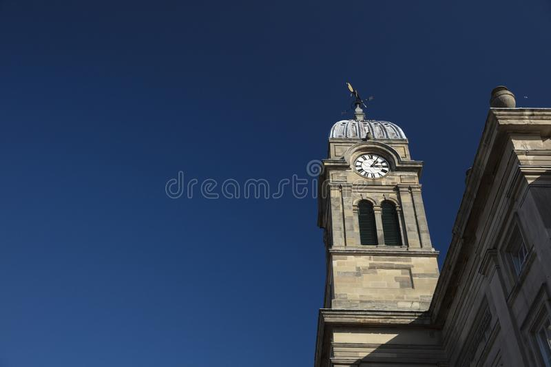 Derby, Derbyshire, UK: October 2018: Clocktower of Derby Guildhall and Theatre royalty free stock photo