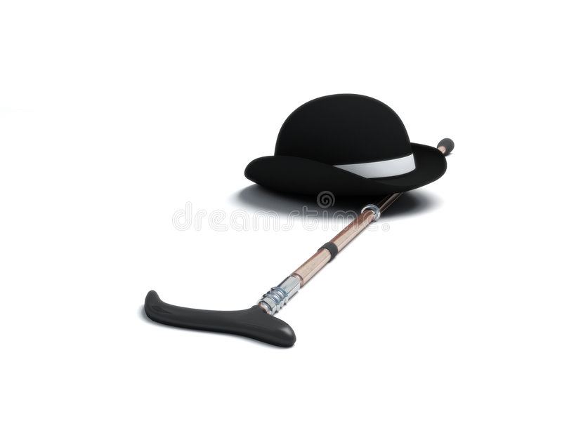 Derby hat and walking stick. On white background vector illustration