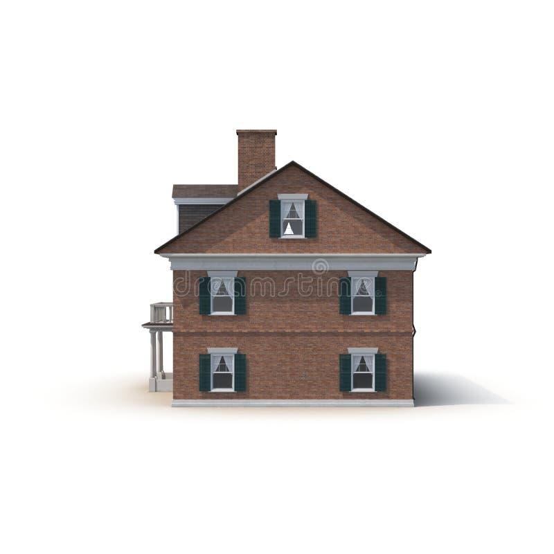 Derby House, costruzione coloniale storica sul bianco Vista laterale illustrazione 3D fotografia stock