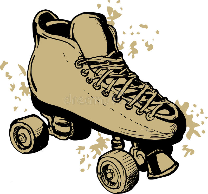 Derby Roller skates drawing. Illustration of a Hand drawn Roller skates isolated on white background royalty free illustration