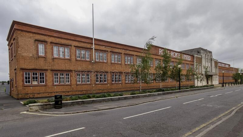 Derby, United Kingdom May 24, 2020: The preserved historic Rolls-Royce Building at the Main Works Site in Derby. Derby, United Kingdom May 24, 2020: The royalty free stock image