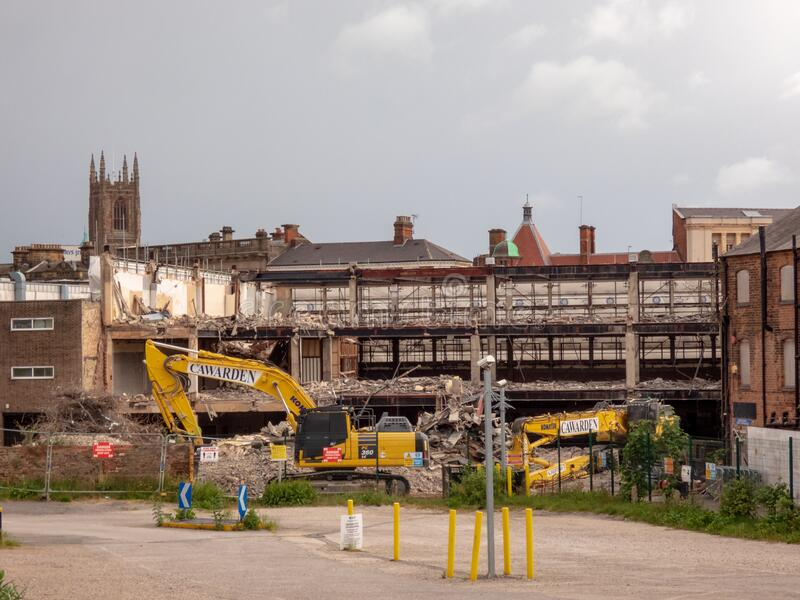 DERBY, UNITED KINGDOM - May 24, 2020 - Demolition of the old Debenhams Building in Derby city centre, Derby,. DERBY, UNITED KINGDOM - May 24, 2020 - A view of stock image