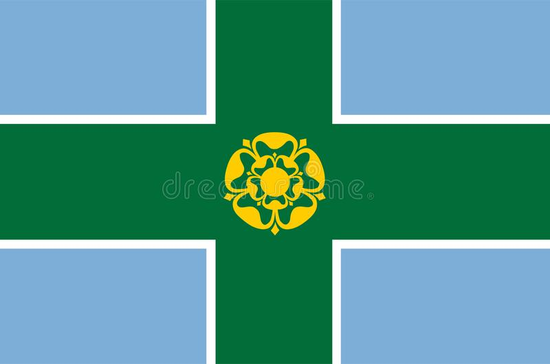 Derbyshire flag, county of England. United Kingdom. British province territory vector illustration