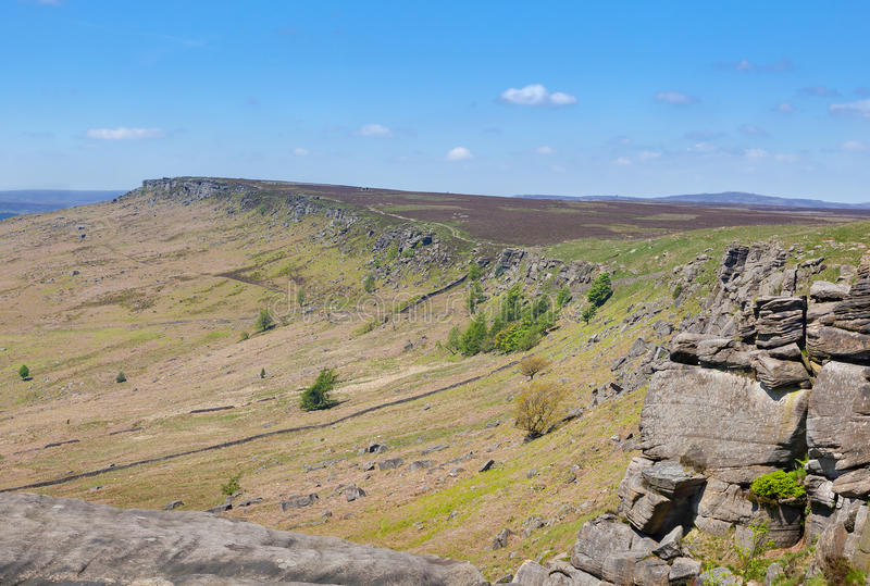 Derbyshire szczytów Stanage krawędź Anglia obrazy royalty free