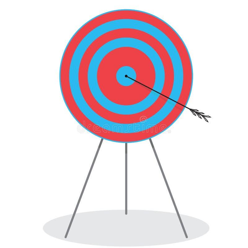 Derecho en la diana Flecha en blanco ilustración del vector