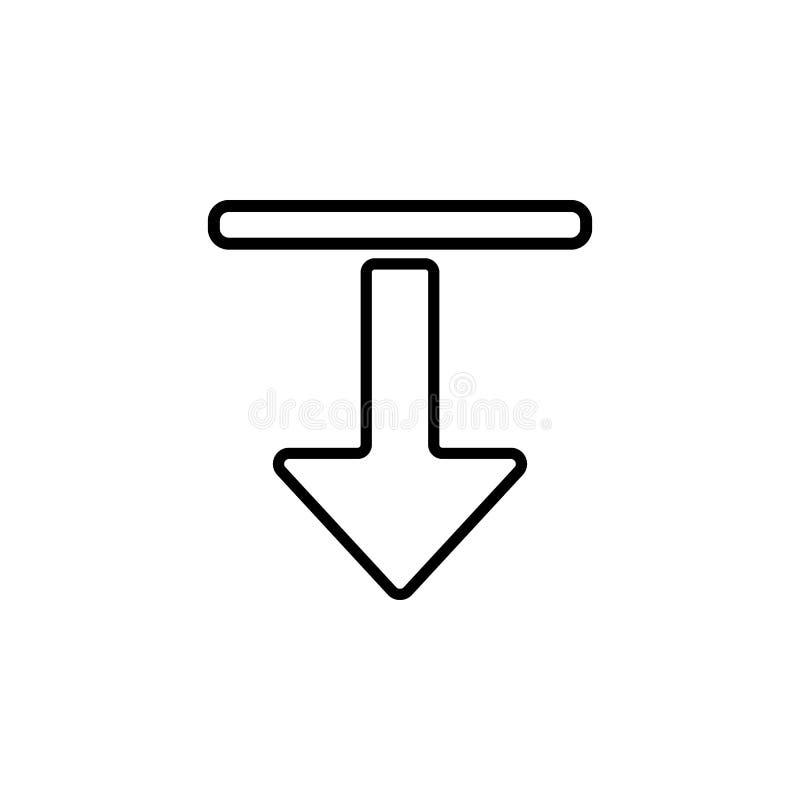 Derecho y abajo icono de la flecha Elemento del icono simple para los sitios web, diseño web, app móvil, gráficos de la informaci stock de ilustración
