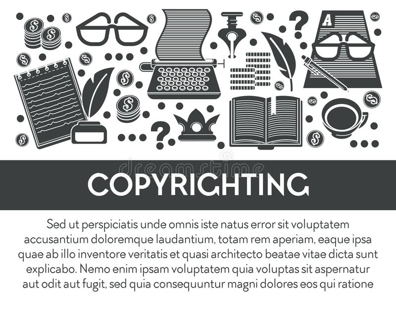 Derechos de autor y propiedad intelectual, herramientas de escritura y equipo stock de ilustración