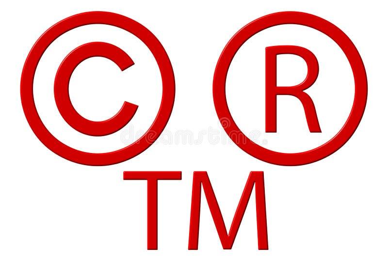Derechos reservados registrados y símbolos de la marca registrada stock de ilustración