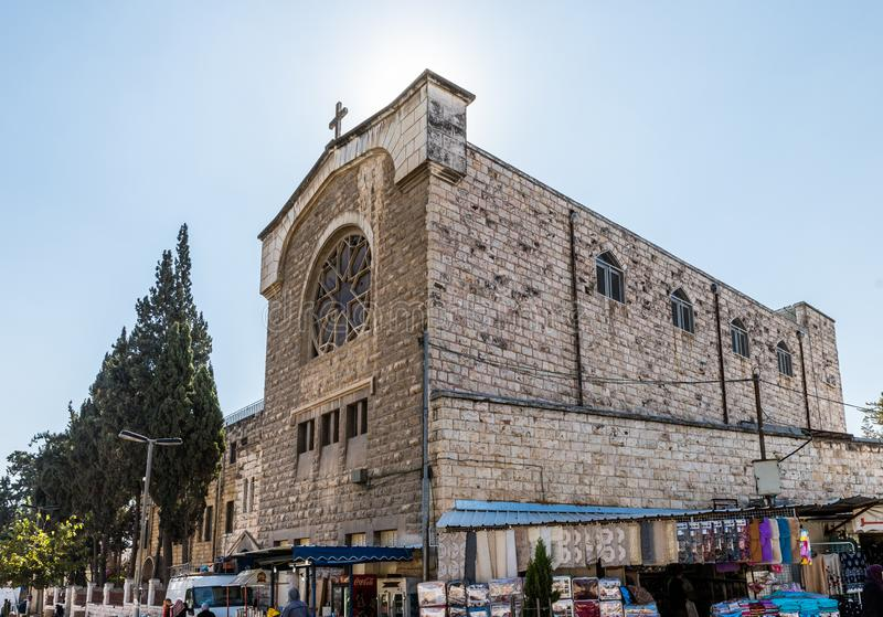 Derekh Shechem街道的基督徒修道院-纳布卢斯路-位于耶路撒冷,以色列 免版税库存照片