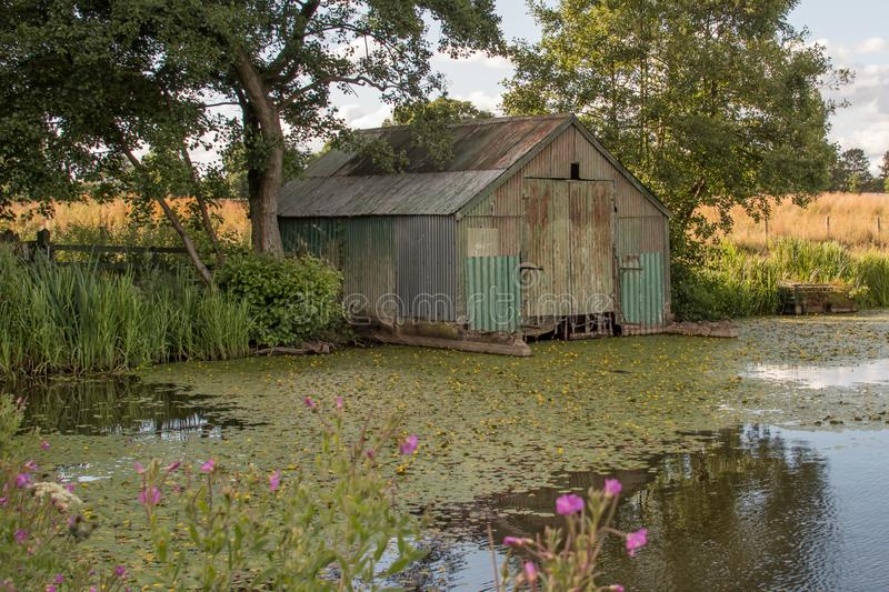 Derelict boat shed royalty free stock images