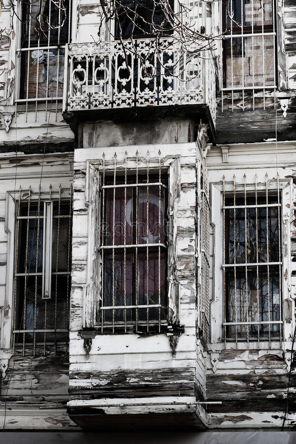 Derelict Building with Turkish Flag stock photography