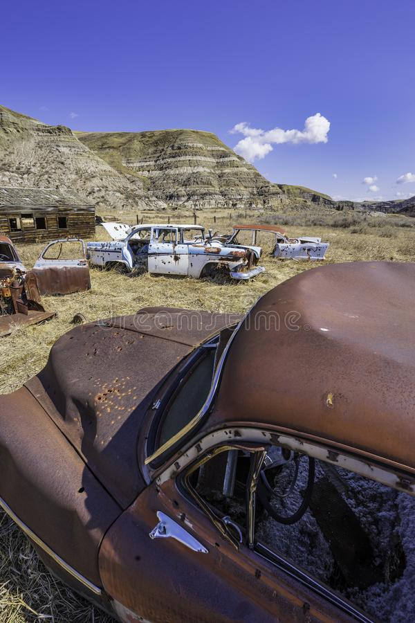 Derelict Cars Rusting in the Alberta Badlands stock image