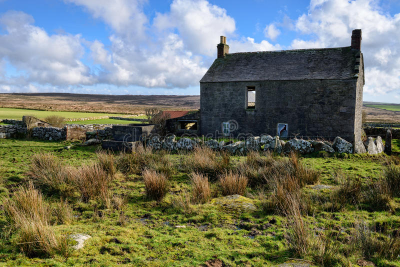 Derelict Farm House. An old derelict farm house on moorland near Penzance in Cornwall stock image