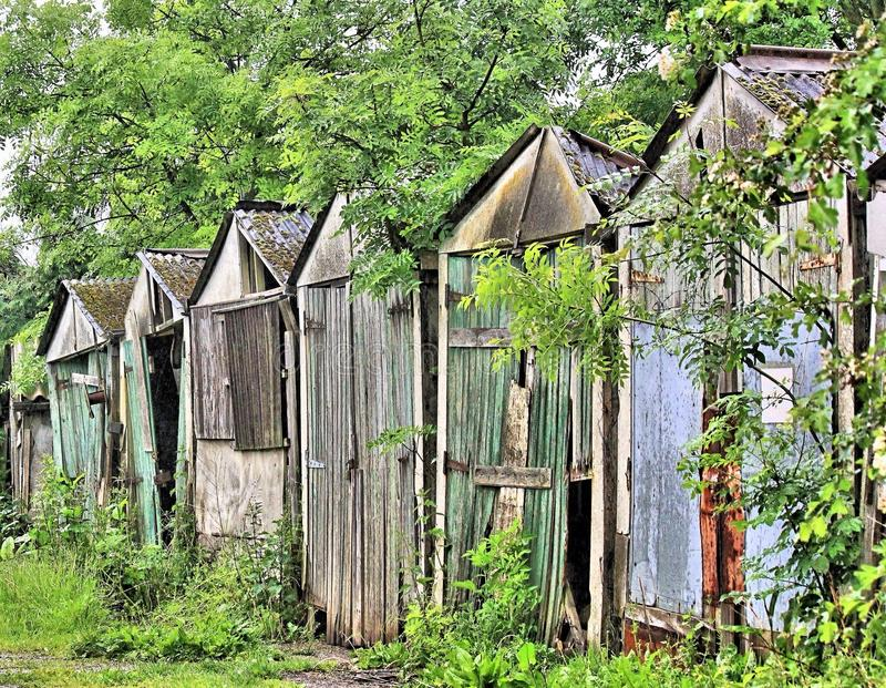 Derelict garages royalty free stock images