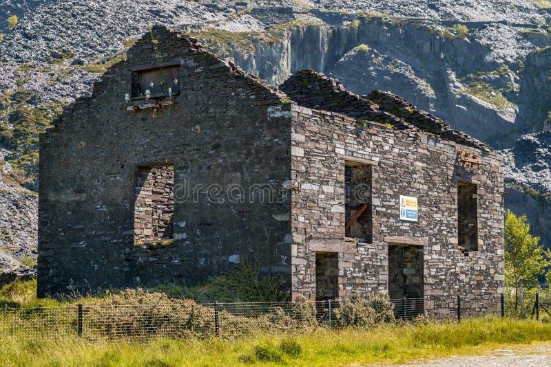 Dinorwic Quarry, near Llanberis, Gwynedd, Wales, UK. Derelict house at Dinorwic Quarry near Llanberis, Gwynedd, Wales, UK stock image