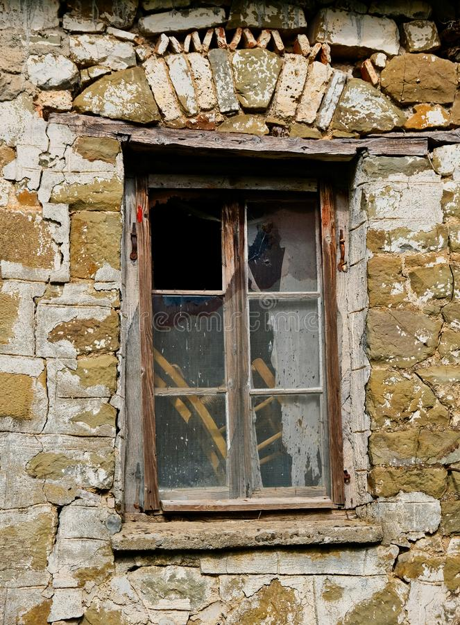 Detail of Old Greek Stone House, Wood Framed Window, Greece royalty free stock images