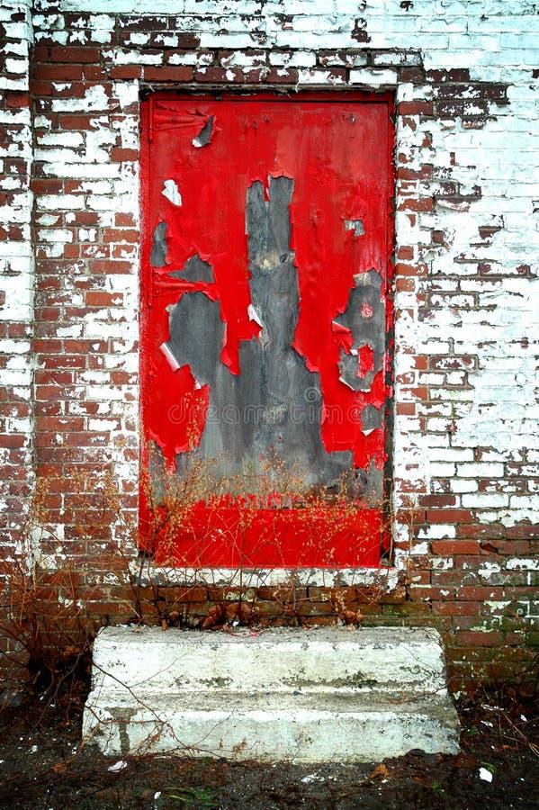 Derelict Red Door Stock Images