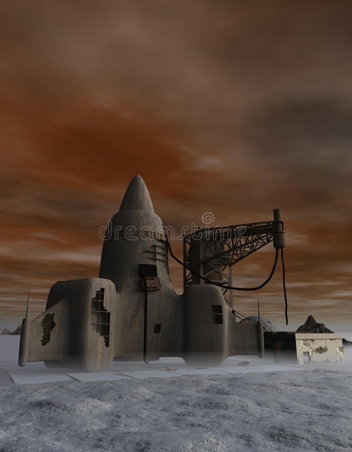 Derelict Rocket. A derelict rocketship that never made it off of the launch pad stock illustration
