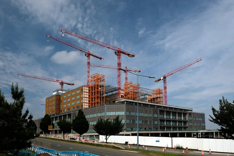 Derelict West Midlands Metropolitan Hospital. The West Midlands Metropolitan Hospital, now a derelict building site. The original construction company went royalty free stock image