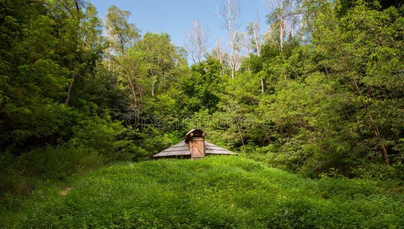 Derevyannayadugout, op de groene heuvels stock fotografie