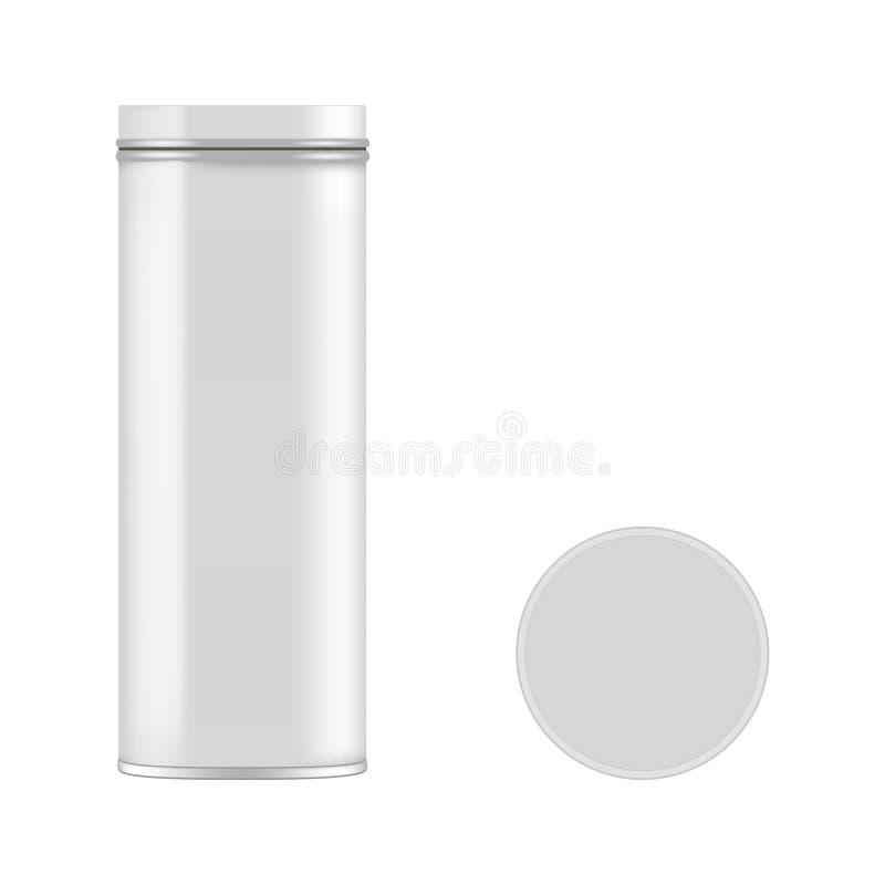 Derida su del barattolo di latta rotondo del metallo per il regalo Vettore isolato su fondo bianco illustrazione vettoriale