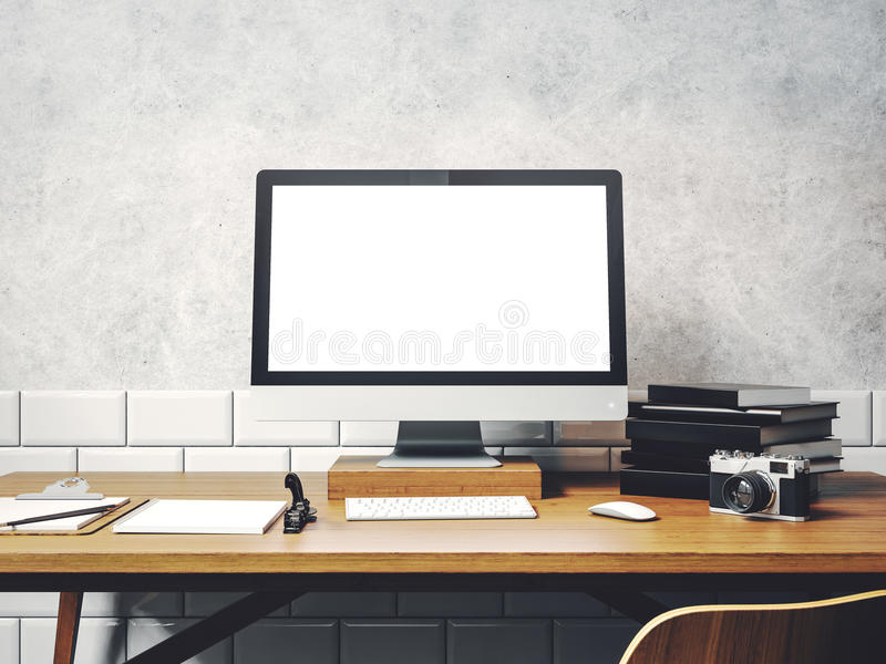 Derida su del computer generico di progettazione sulla tavola Area di lavoro in Th fotografia stock libera da diritti
