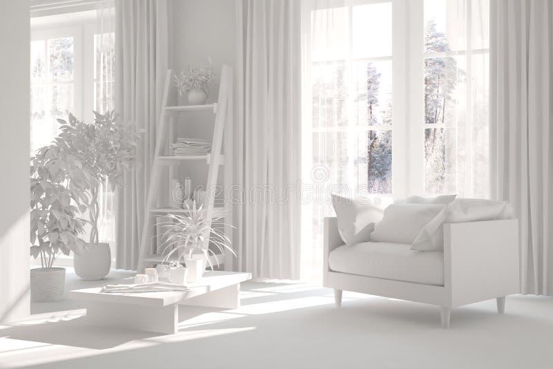 Derida su di stanza alla moda nel colore bianco con la poltrona Interior design scandinavo illustrazione 3D fotografia stock