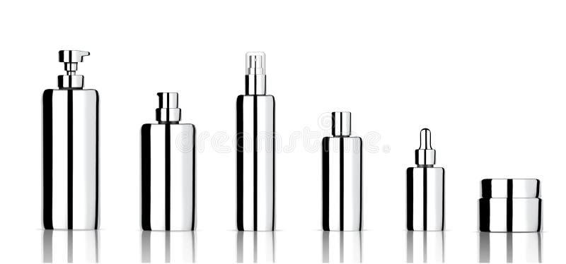 Derida su sapone, su sciampo, su crema, sul contagoccia realistico dell'olio e sulle bottiglie cosmetici metallici dello spruzzo  royalty illustrazione gratis