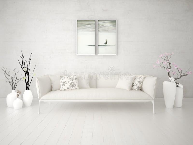 Derida su un salone alla moda con un sofà beige lussuoso illustrazione vettoriale