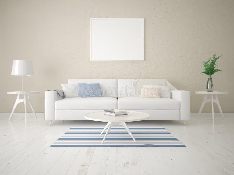 Derida su un salone alla moda con un sofà di epoca illustrazione vettoriale