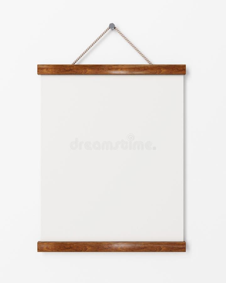 Derida sul manifesto in bianco con la struttura di legno che appende sulla parete bianca, fondo