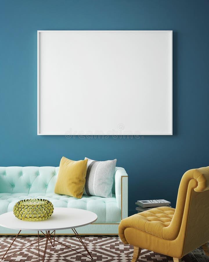Derida sul manifesto in bianco sulla parete del salone d'annata, illustrazione di stock