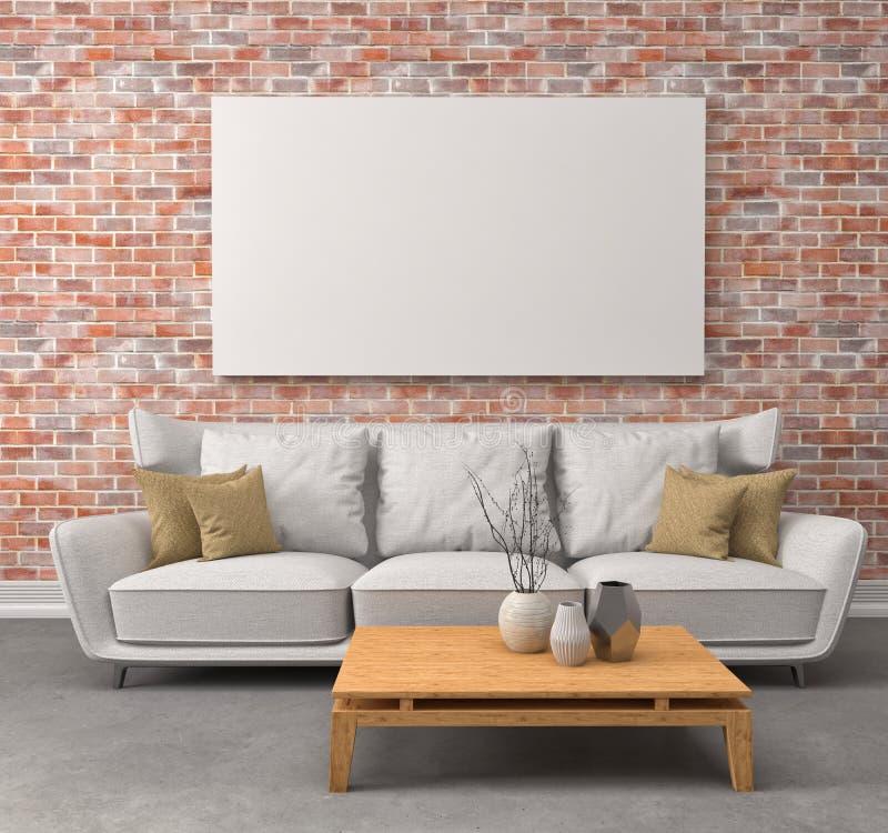 Derida sul manifesto in bianco sulla parete dell'interno con il sofà illus 3d illustrazione vettoriale