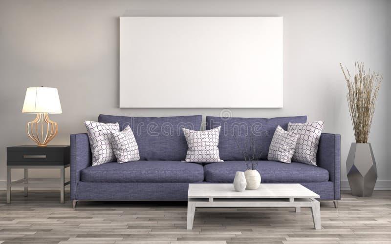 Derida sul manifesto in bianco sulla parete dell'interno con il sofà illus 3d royalty illustrazione gratis