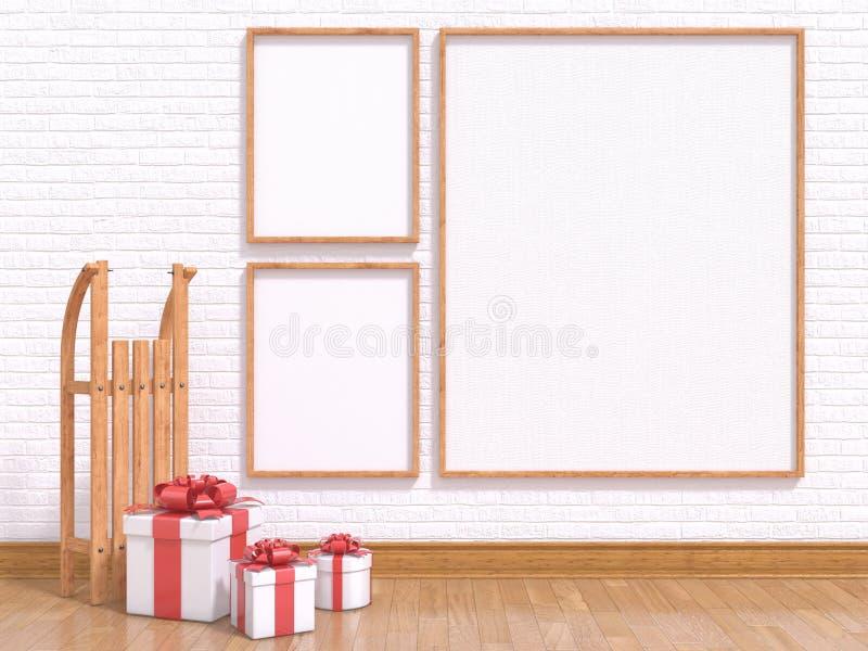 Derida sul manifesto con la slitta ed i regali di Natale di legno 3d rendono royalty illustrazione gratis