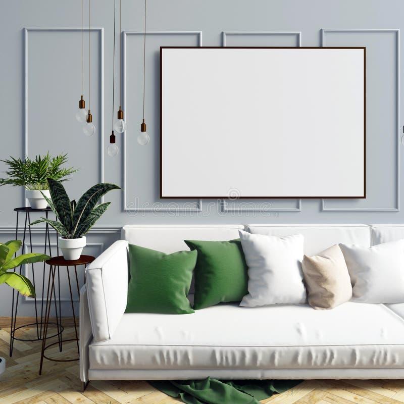 Derida sul manifesto nell'interno con il tavolino da salotto ed il sofà Ro vivente illustrazione vettoriale