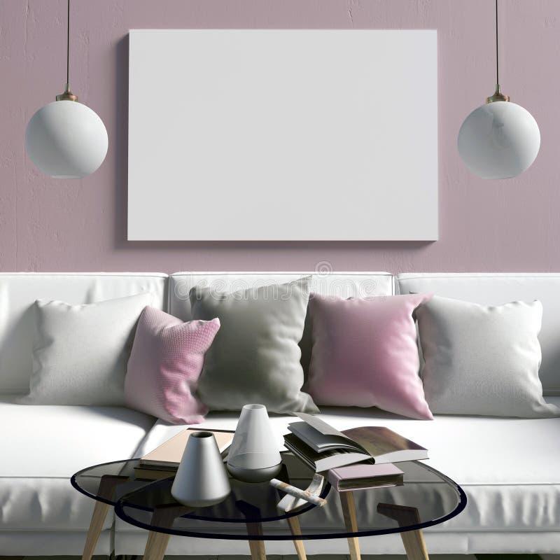Derida sul manifesto nell'interno con il tavolino da salotto ed il sofà Ro vivente illustrazione di stock